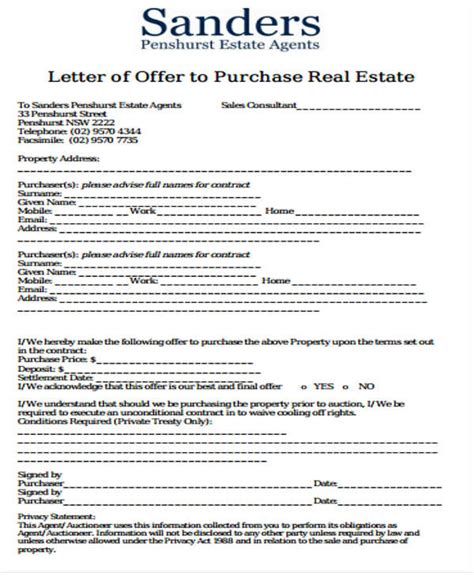 real estate offer letter template free 28 images real