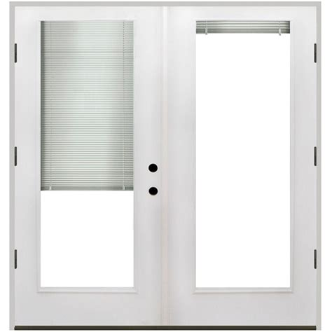 Patio Door Blinds Home Depot Steves Sons 60 In X 80 In Primed White Fiberglass Prehung Right Outswing Mini Blind