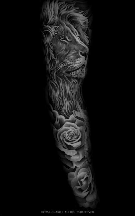 lion sleeve tattoo designs monarc studios collection ideas