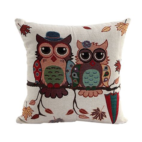 decorative owls cute owl pattern linen decorative head pillow cover home