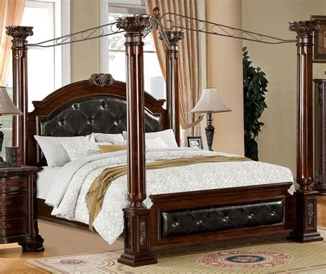 queen poster bed mandalay brown cherry queen poster canopy bed from