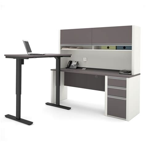 Adjustable Table L Connexion L Desk With Hutch Including Electric Height Adjustable Table In Slate Sandstone