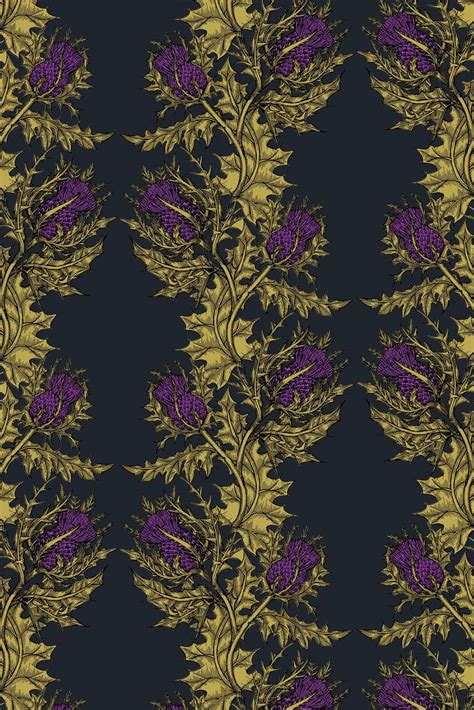 hand printed wallpaper timorous beasties wallcoverings grand thistle hand
