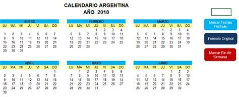 Argentina Calend 2018 Calendario Argentina 2018 171 Excel Avanzado