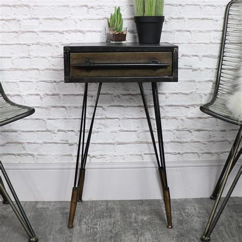 industrial bedside table retro industrial metal bedside table melody maison 174