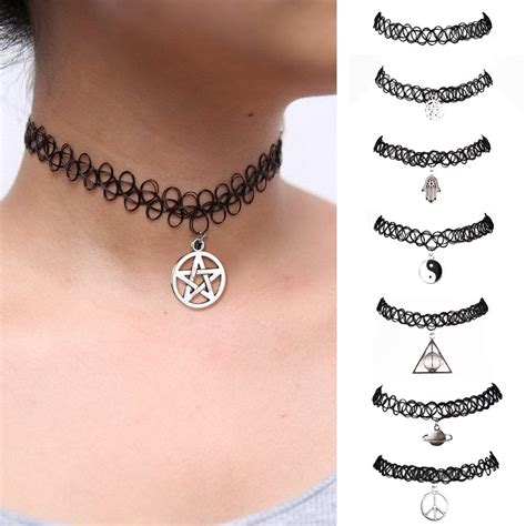tattoo chocker black choker stretch necklace retro vintage elastic