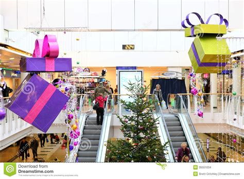 tree shopping decorations in shopping mall editorial stock