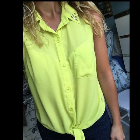 44 forever 21 tops like new lime green yellow studded blouse w tie from s
