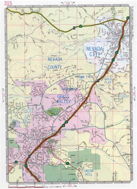 california map grass valley nevada city road map