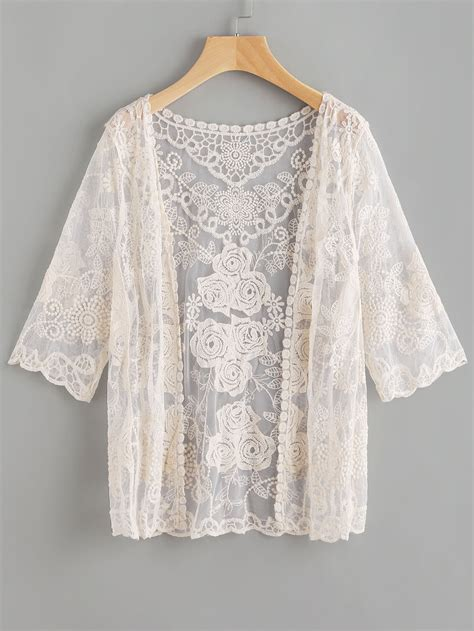 Scallop Sleeve Top 0912 64 Special scallop sleeve embroidered lace kimono shein sheinside