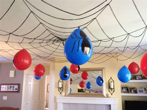 web ceiling decor spiderman birthday pinterest