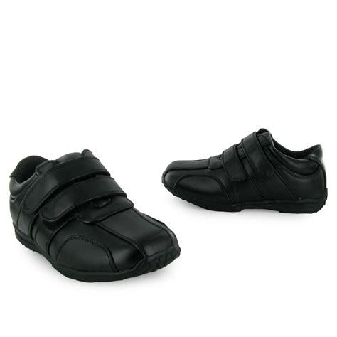 flat shoes for boys new boys black velcro flat school shoes size 10 6 ebay