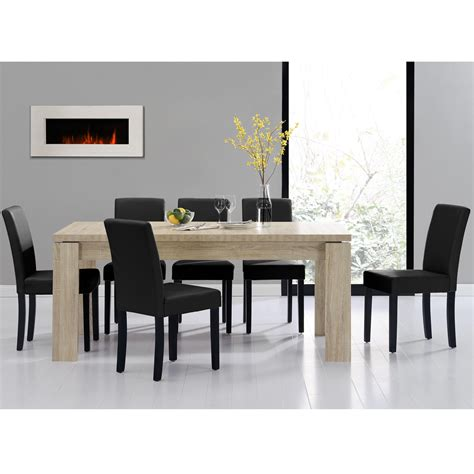 en casa dining table 180x95 limed oak 6 chairs black