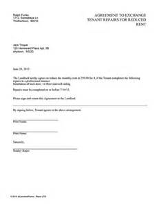 agreement to exchange tenant repairs for reduced rent