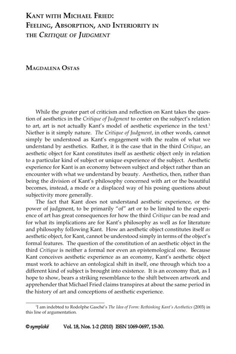 Critique Essay by Magdalena Ostas Kant With Michael Fried Feeling Absorption And Interiority In The Critique