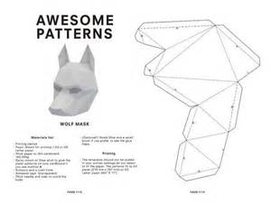 Paper Mask Template by Make Your Own Wolf Mask Animal Mask Printable Mask For