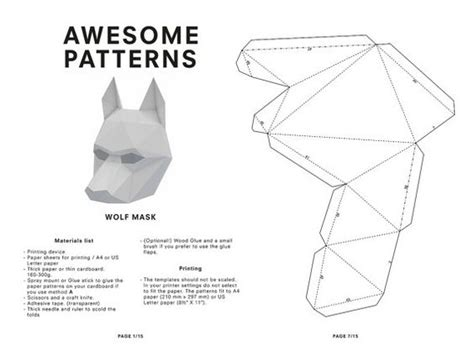 3d animal mask templates make your own wolf mask animal mask printable mask for