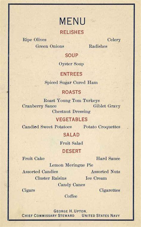 dinner menu naval warfare december 2012