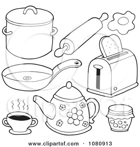 kitchen objects coloring pages clipart outlined kitchen items royalty free vector