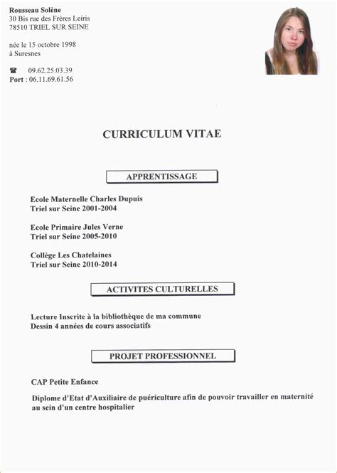 Cv Pour Stage by Exemple Cv Pour Stage Exemple De Modele De Cv