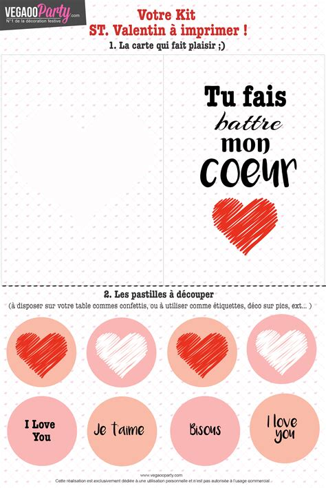 Carte Valentin by Gratuit Le Kit Valentin 224 Imprimer Id 233 Es De F 234 Tes