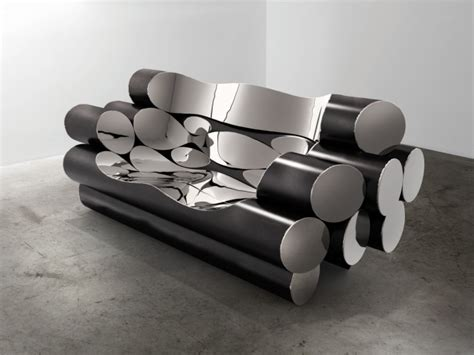 ron arad stainless steel sofa summer exhibition installations by ron arad