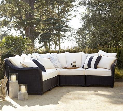 palmetto all weather wicker sectional set black