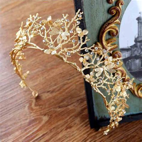 vintage gold wedding hair accessories vintage baroque gold tiara crown headbands wedding