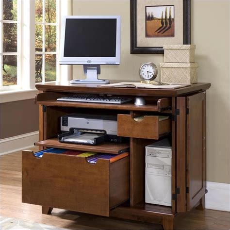 Cabinet Computer Desk Home Styles Arts Crafts Compact Cabinet Cottage Oak Computer Desk Ebay