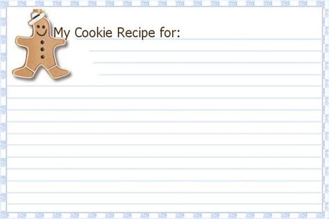 cookie recipe card template 6 best images of printable recipe card template