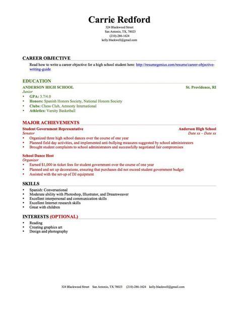 How To Write A Resume For Students Resume For High School Student With No Work Experience