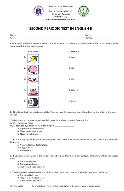 first periodical test grade2 grade 2 english second periodic test