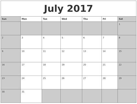 July Calendar July Calendars