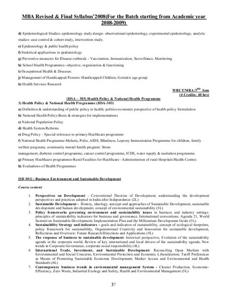 Mba Cohort Definition by New Mba Revised Syllabus 2008