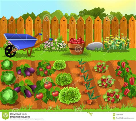 Cartoon Garden With Fruits And Vegetables Vector