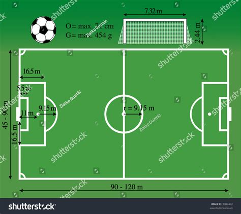 football ground measurement in meter dimensions of the soccer playground stock vector 3087492