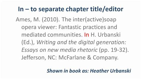 reference chapter in book apa apa style referencing a book chapter