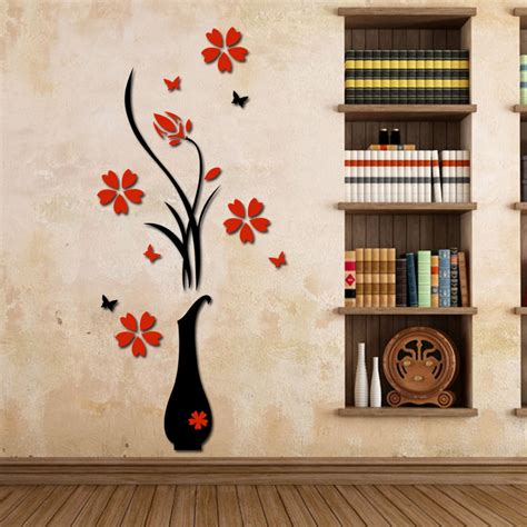 home wall decor stickers wall stickers acrylic 3d plum flower vase wall stickers