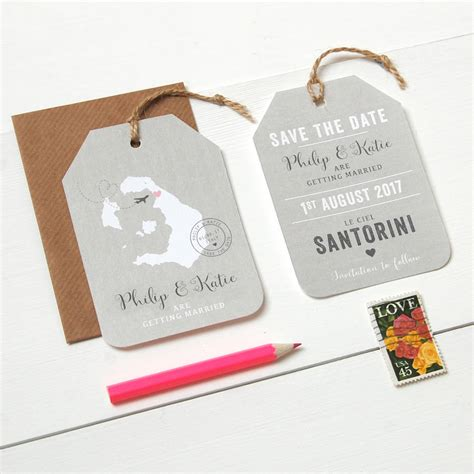 templates for wedding invitations abroad location wedding abroad save the date luggage tag by ditsy
