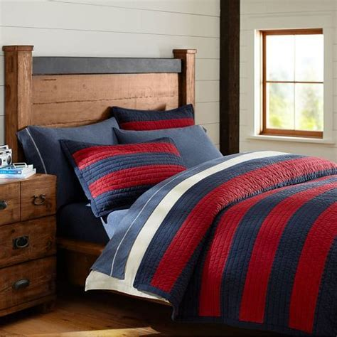 boys striped bedding rugby stripe quilt sham navy red rugby quilts and