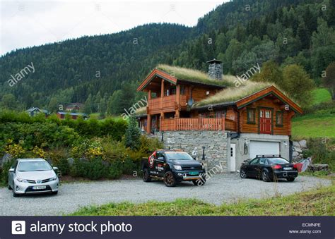 norway buy house fagernes norway house with old fashioned grass roof for warmth and stock photo