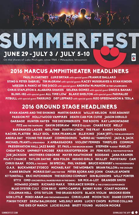 Summerfest Ticket Giveaway - 2016 lineup summerfest the world s largest music festival