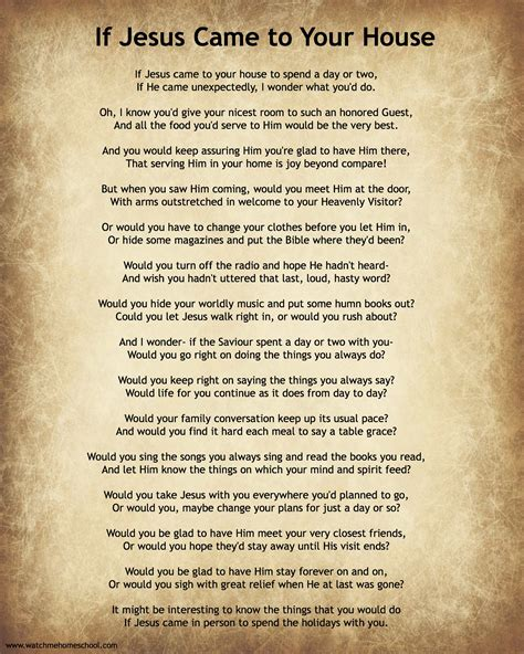 jesus poem if jesus came to your house poem that was one of my s