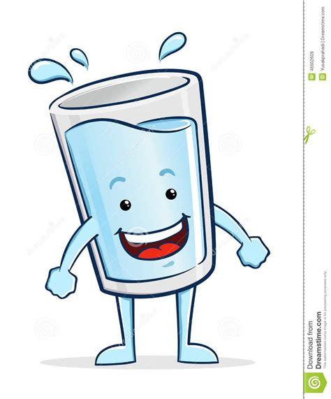 glass cartoon glass of water character stock vector image 46902609