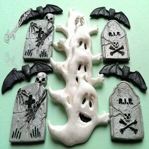 edible sugar halloween cake decorations ghost tomb bats cupcake toppers ebay
