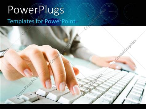 themes for powerpoint secretary powerpoint template a female hand typing on a keyboard