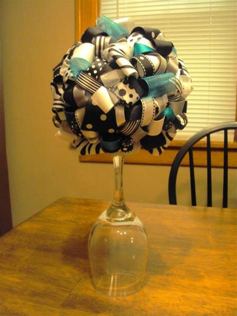 centerpieces ribbons and ribbon topiary on pinterest
