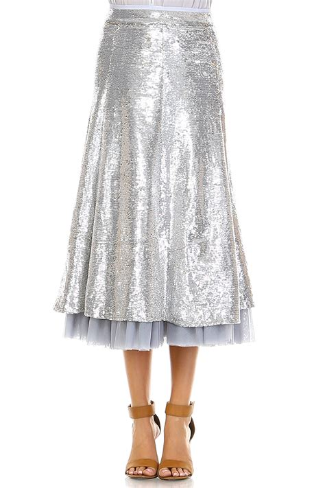 Line Skirt Overall Terusan Jumpsuit W315 silver mid length a line sequins skirt modishonline