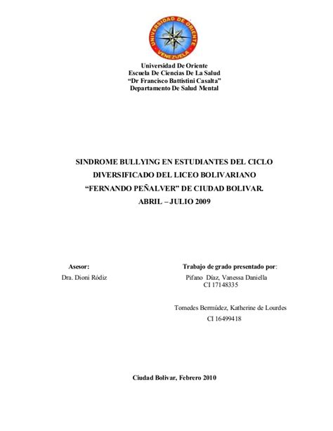 thesis de bullying 05 tesis sindrome bullying en estudiantes