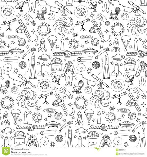 hand drawn wallpaper seamless pattern with doodle space elements cartoon vector
